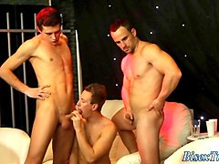 hot group of guys and girls have a bisex party