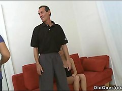 juvenile babe pleases old chap fucking him hard