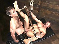 Marc Dylan is bound, beaten and fucked for the first time on Bound God