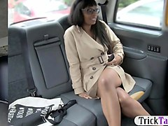 ebony babe is down to ride a big dick in the fake taxi