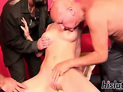 young slut gets rammed by older men