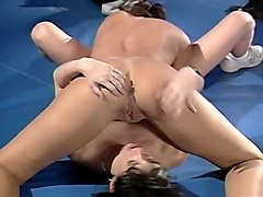 exquisite couple of smooth skin sensual brunettes in lesbian action
