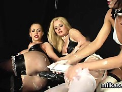 slutty lesbos fill up their massive bootys with cream and sq