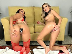 chick in red lingerie going totally lesbian wit her natural friend