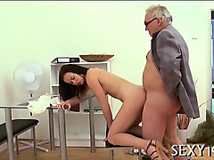 charming old teacher is drilling sweet chick from behind