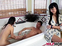 asian mom teaching stepdaughter how to please a cock