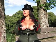 The Busty Blowjob Officer - Uniform Blowjob Handjob with Black Latex Gloves - Fuck my Tits - Cum on my Tits