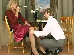 Blonde cd gets fucked and guy cums in her mouth