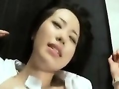 slutty asian girl moves her panties to the side and gets po