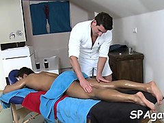 bushy dude gets a lusty anal spooning from rubber