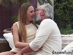 well hung old man is ready to bang this young blondie