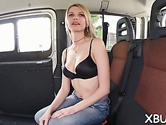 stud offers her a lift and fucks her slit in his car