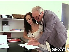 pulling down teacher's panties for a vigorously oral-job