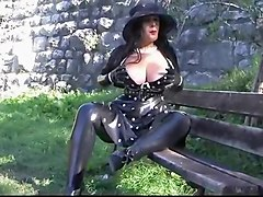 Busty Polka Dot Diva - Public Blowjob Handjob with Latex Gloves - Cum on my Gloves