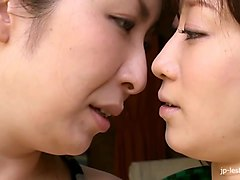 Hairy Japanese MILFs kissing and licking pussies