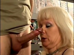 French blonde mature fucked at the sex shop
