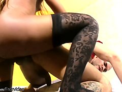 silly dude lets black tranny boner fuck up his ass and cums