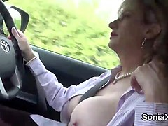 Cheating uk milf lady sonia pops out her massive knockers