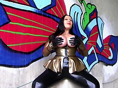 The Golden Blowjob Officer - Dirty Outdoor Blowjob Handjob with Latex Gloves - Cum on my Tits