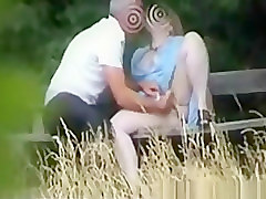 Mature couple in public park