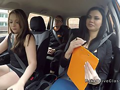 threesome in fake driving school car movie