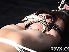 big cocky guy has no mercy for girl as he bounds her tight