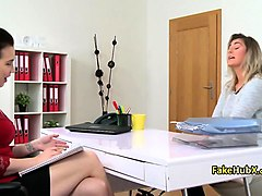 lesbian agent fucked hot blonde on casting