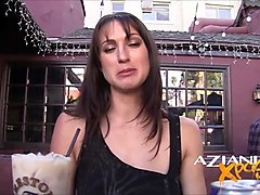 sexy brunette loves showing off her pussy in public at bar in hollywood