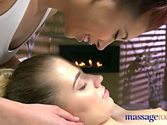 massage rooms russian model has her tight hole fucked by asian lesbian