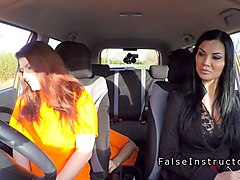 busty redhead has ffm threesome in car