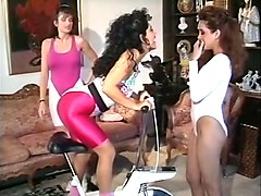 gorgeous sporty young sluts start up lesbian threesome