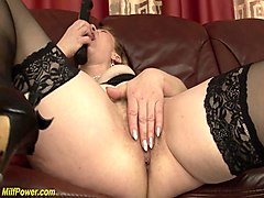 extreme hairy mom enjoys massive facial