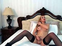 blonde shemale girl in nylon stockings jerking off