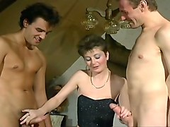 blonde white milf in black lingerie blows dick outside