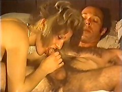 busty and appetizing classic white milf on the bed blows dick