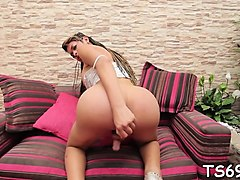 lewd tranny cannot stop whacking off her insatiable shlong