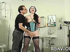 lad gives ballgagged sluts' unshaved pussy some savage time