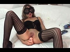 large amateur cam woman uses two of her toys to masturbate