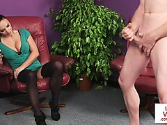 dominating voyeur instructing tugging guy