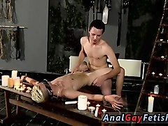 male cock bondage gay splashed with wax and cum