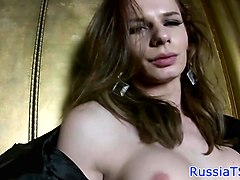 russian trans babe strips and jerks dick