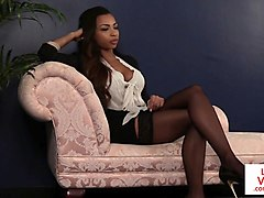 dominant ebony babe instructing naked guy