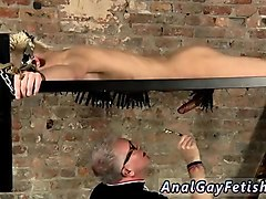 bondage male rubber gay pegged all over, drained and sucked,
