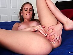 Great tits on a beauty fingering her pink cunt