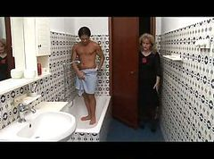 Mature blonde fucked in shower