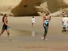 2 Young Girls Showing Off Boobs On The Beach