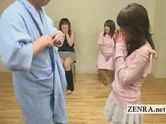 Subtitled Kinky Japan Handjob In Front Of Real Friends