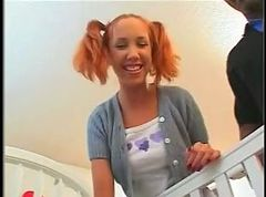 Redhead and pigtails takes BBC anally