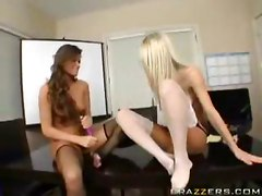Two Chicks In Stockings Using Dildos For Fun