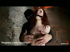 Tied Busty Redhead Pussy Rubbed On Rope With Knots